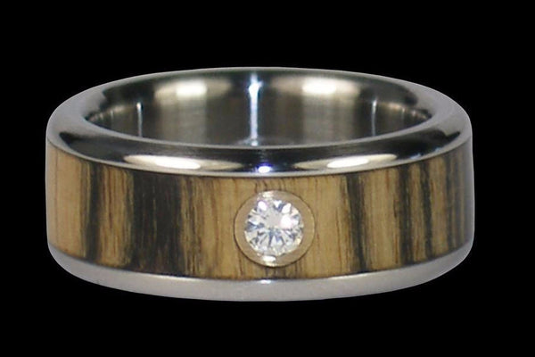 Diamond Titanium Rings with Ebony Wood