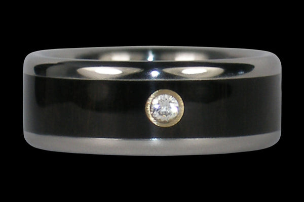 Diamond Black Wood Titanium Ring Band