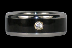 Diamond Black Wood Titanium Ring Band - Hawaii Titanium Rings  - 1