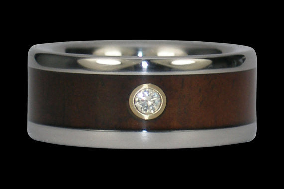 Diamond Titanium Ring Band with Milo Wood