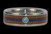 Blue Diamond Titanium Ring with Wood and Stone Inlay - Hawaii Titanium Rings  - 2