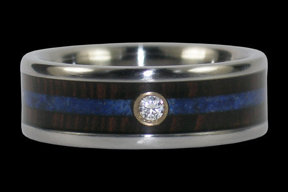 Diamond Titanium Rings with Lapis