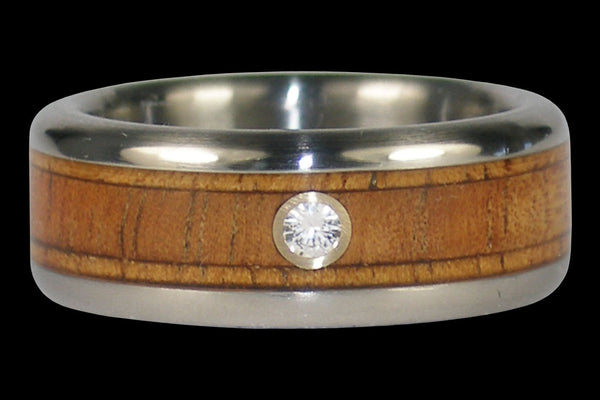 Diamond Fire Koa Wood Titanium Ring