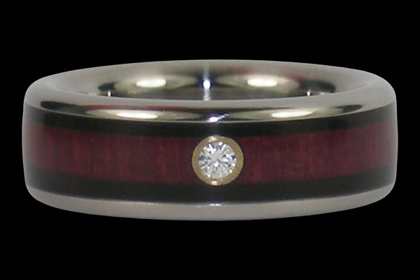 Diamond Black Wood and Purple Heart Wood Hawaii Titanium Ring®