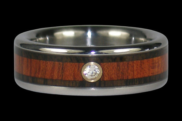 Titanium Diamond Ring Band with Blackwood and Bloodwood