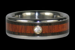 Titanium Diamond Ring Band with Koa and Bloodwood - Hawaii Titanium Rings