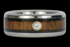 Diamond Titanium Ring with Exotic Wood - Hawaii Titanium Rings  - 1