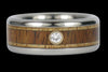 Diamond and Wood Titanium Wedding Ring Set - Hawaii Titanium Rings  - 3