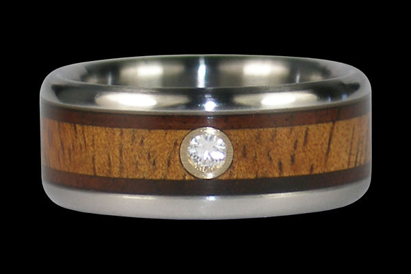 Diamond Hawaiian Wood Titanium Ring