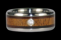 Diamond Hawaiian Wood Titanium Ring - Hawaii Titanium Rings  - 1