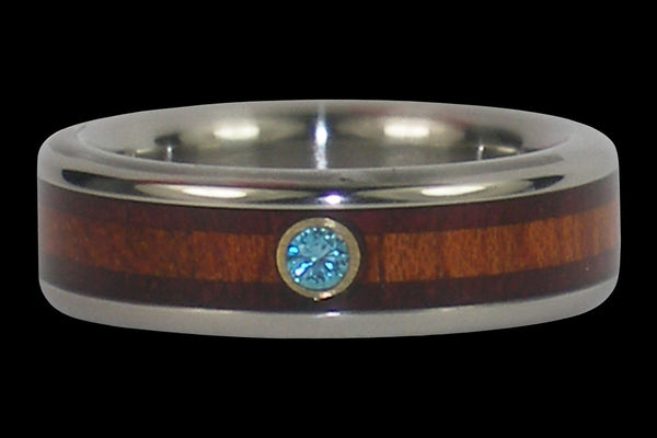 Blue Diamond Titanium Ring with Two Woods