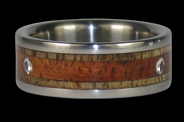 Triple Diamond Titanium Wedding Ring Band with Hawaiian Wood