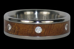 Titanium Diamond Ring with Six Diamonds - Hawaii Titanium Rings