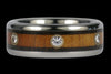 Hawaiian Koa Wood Diamond Titanium Ring - Hawaii Titanium Rings