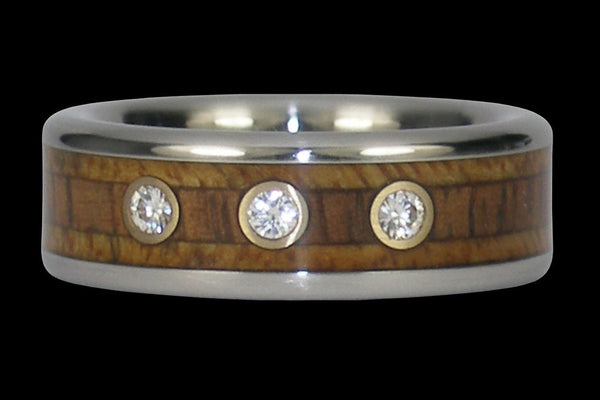 Triple Diamond Koa Wood Titanium Ring