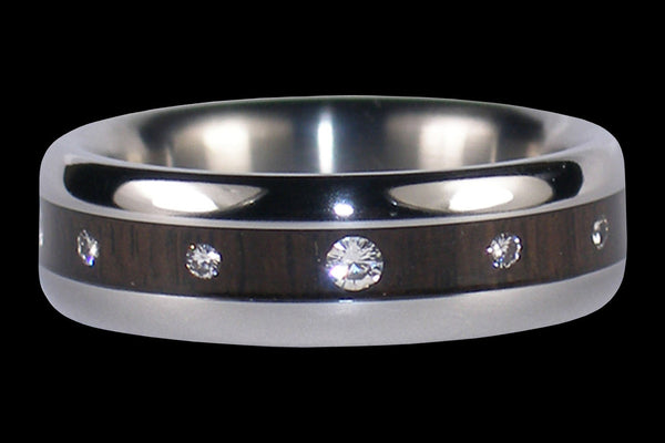 Black Wood and Diamond Titanium Ring