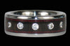 Diamond Black Wood Titanium Ring Set - Hawaii Titanium Rings  - 2