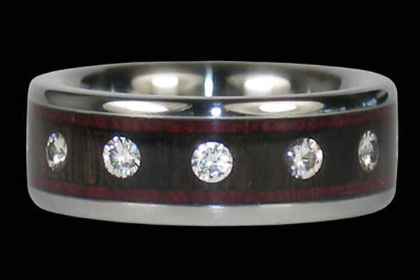 Twelve Diamond Wood Wedding Band