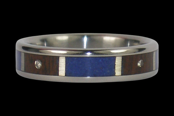 Blue Lapis and Diamond Titanium Ring