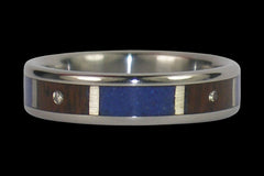 Blue Lapis and Diamond Titanium Ring - Hawaii Titanium Rings  - 1