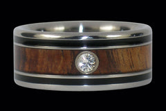 Diamond and Koa Wood Titanium Wedding Ring Band - Hawaii Titanium Rings