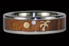 Koa Wood Diamond Titanium Ring Set - Hawaii Titanium Rings  - 2