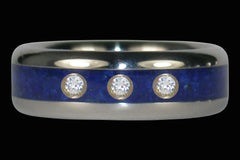 Blue Orion Three Diamond Lapis Titanium Ring - Hawaii Titanium Rings
