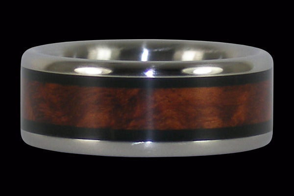 Amboyna and Blackwood Inlay Hawaii Titanium Ring®
