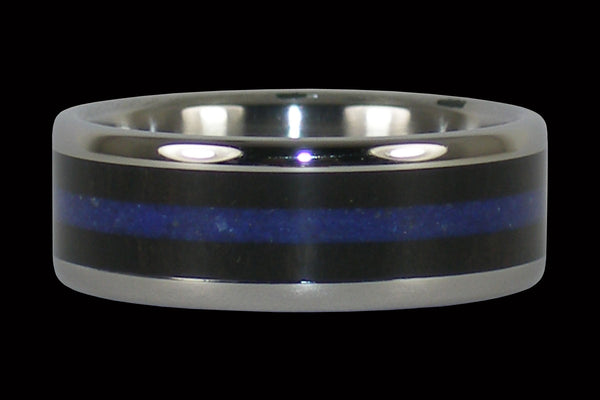 Blackwood and Blue Lapis Hawaii Titanium Ring®