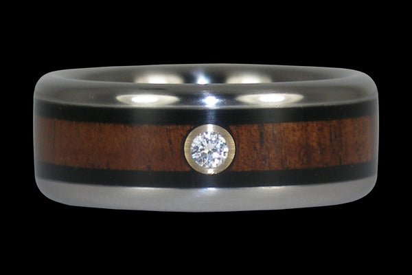 Black Wood Diamond Titanium Ring