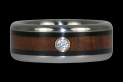 Black Wood Diamond Titanium Ring - Hawaii Titanium Rings  - 1