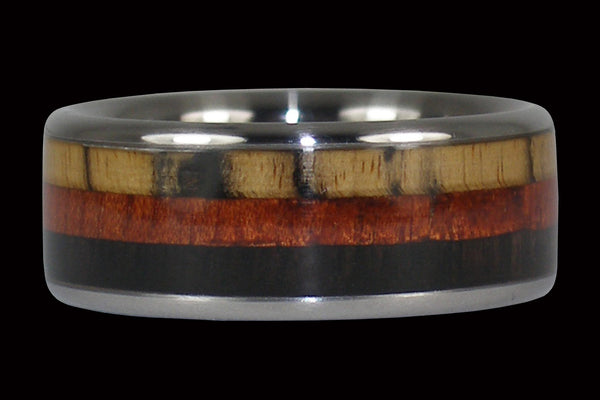 Triple Wood Hawaii Titanium Ring Band