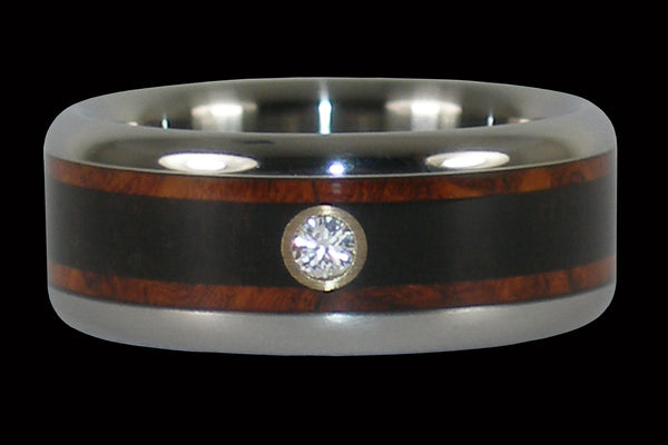 Amboina and Blackwood Diamond Titanium Ring