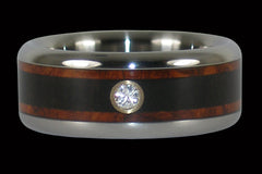 Amboina and Blackwood Diamond Titanium Ring | Mens Blackwood Diamond Wedding Ring | Mens Diamond Rings  | Hawaii Titanium Rings