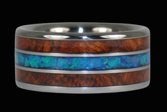 Blue Opal and Amboyna Ring - Hawaii Titanium Rings