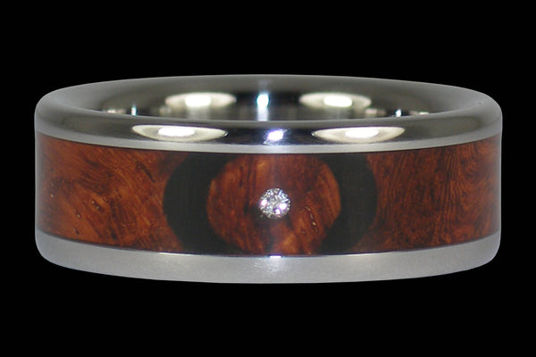 Diamond Amboyna Wood Titanium Ring Band