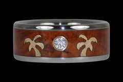 Gold Palm Tree Diamond Titanium Ring Band - Hawaii Titanium Rings  - 1