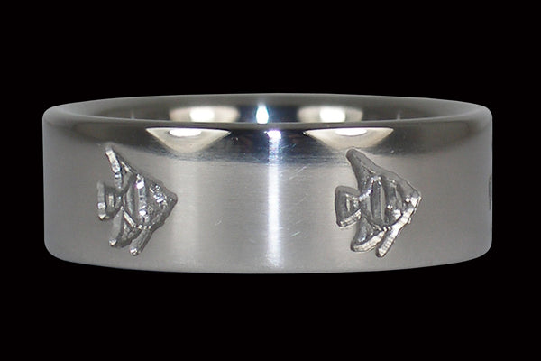 Engraved Fish Titanium Ring
