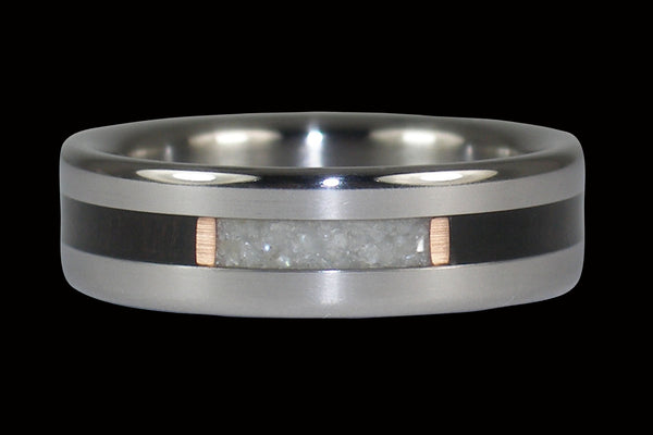White Pearl Titanium Ring with Black Wood Inlay