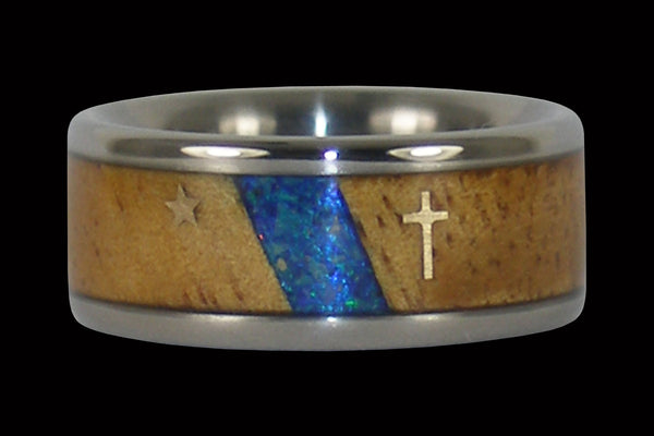 Christian Titanium Ring with Gold Cross and Star