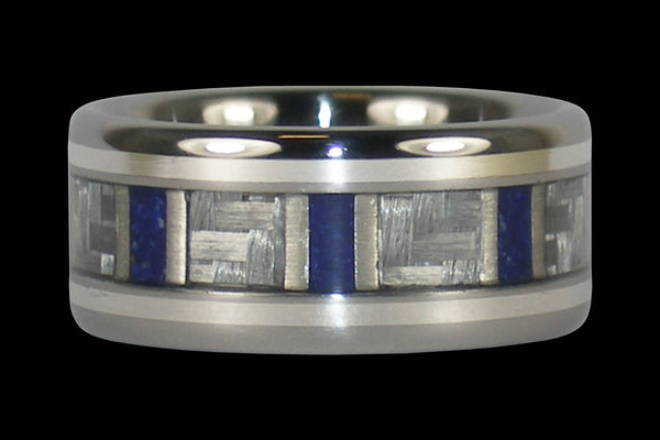 Lapis Titanium Ring with White Carbon Fiber