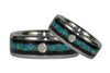 Titanium Wedding Bands with Diamonds, Opal, and Blackwood - Hawaii Titanium Rings  - 4