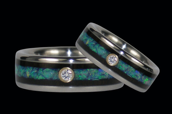 Titanium Wedding Bands with Diamonds, Opal, and Blackwood