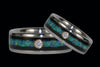 Titanium Wedding Bands with Diamonds, Opal, and Blackwood - Hawaii Titanium Rings  - 1