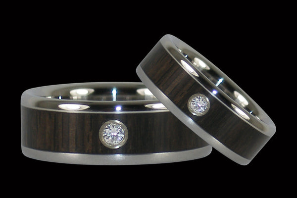 Black Wood Diamond Titanium Rings