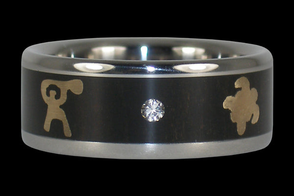 Diamond Hawaii Titanium Ring® with Gold Turtle and Paddler