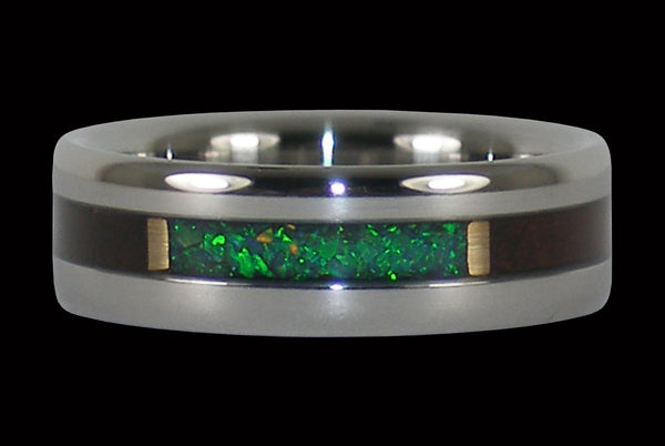 Milo Wood Black Kiwi Lab Opal Titanium Ring
