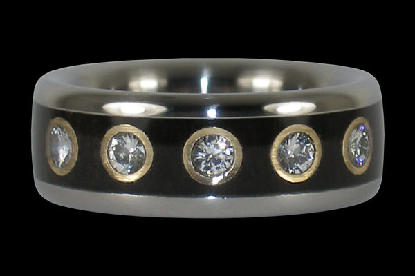 Titanium Black Wood Ring with Twelve Diamonds