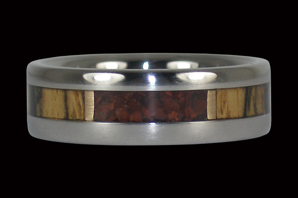 Red Tigers Eye Titanium Ring with Black and White Ebony Inlay