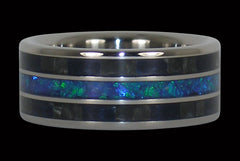 Black Carbon Fiber and Blue Opal Titanium Ring Band - Hawaii Titanium Rings
